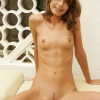 Enchanting girl invites you outside to see her shaved pussy