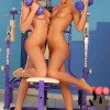 Sizzling teen vixens get naked and have hot sex in the gym