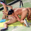 Cute tennis players nude and finger smooth twats on court