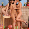 Three hot party girls undress lick and rub juicy pussies