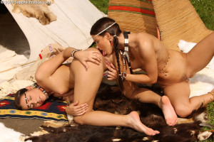 Navajo cuties lap and finger pussies and butts by tee pee