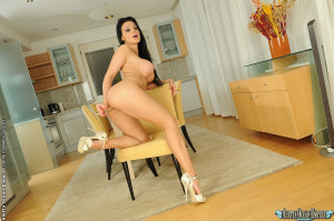 Aletta Ocean is dildoing her pussy in the kitchen