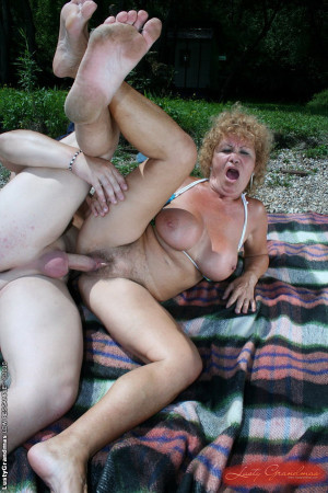 Horny granny Effie got a young dick on the beach