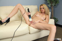 Tiny babe Tiffany Fox masturbates with super large vibrator!