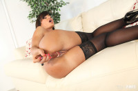 Big breasted MILF Lisa Ann masturbates in black stockings LIVE!