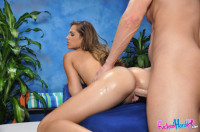 18 year old Zoey Foxx gets fucked hard from behind by her massage therapist