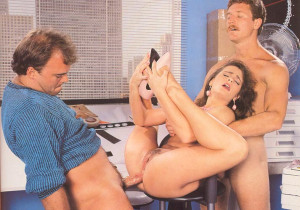 Hairy seventies lady receives two stiffy cocks at one time