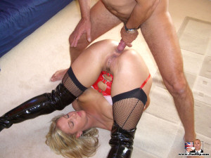 Kinky British streetslut in red latex going to be analyzed