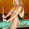Busty sexy teenage babe toying her vagina on the pool table