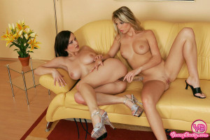 Big breasted lesbian girls toying eachothers tight pussy