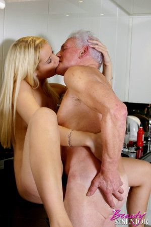 Stunning blonde beauty drinks a senior his thick cumload