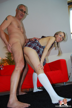 British blonde slut loves an erected senior his stiff cock