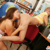 Two teenage sweeties toying their wet pussyholes in office