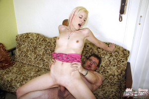 Old dementing fart fucked hard by very hot babe on the couch