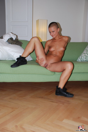Hot bald tough army chick strips down naked cute pictures
