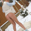 Hot teenage babe playing in the snow with a dildo outside