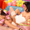 Two hot playing teenage lesbians wearing very sexy lingerie