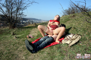 Hot teen blonde banging old senior guy outdoors hardcore