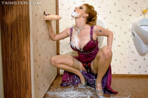 Jizzed by a massive rubber pecker on her enormous titties