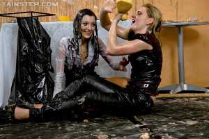 Wet and messy lesbians get horny playing with colorful paint