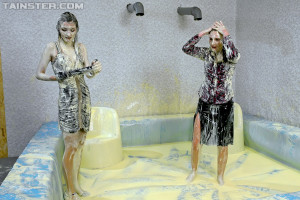 Two hot babes get covered in goo during messy trivia game