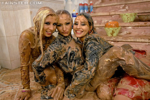 Three daring hot lesbian sweeties love playing with mud