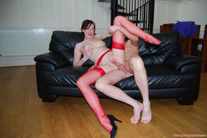 Hot sexy MILF in red seamed stockings fucking a lucky fan
