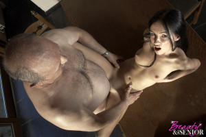 Tree loving cutie shagging the horny senior owner hardcore