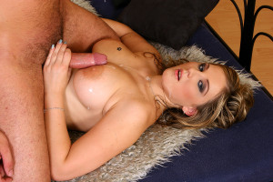Horny hotshot rubbing his pecker between her large tits