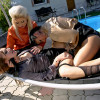 Three horny clothed lesbians really love fucking outdoors