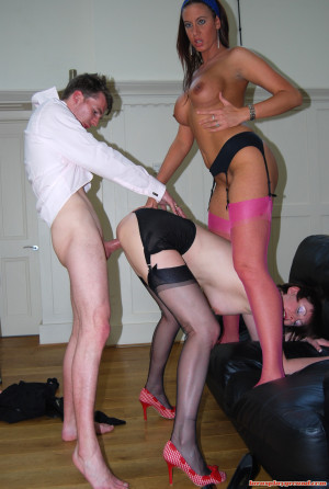 Two british fetish babes shagging a very lucky chap hard