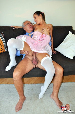 A horny and old dude enjoys drilling her drenched cooch