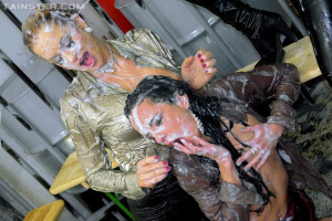 Three lesbian hotties love pleasuring each other with slime