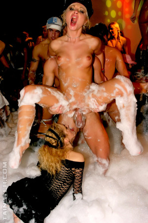 Horny drinking babes fucking sexy dudes at a big soap party