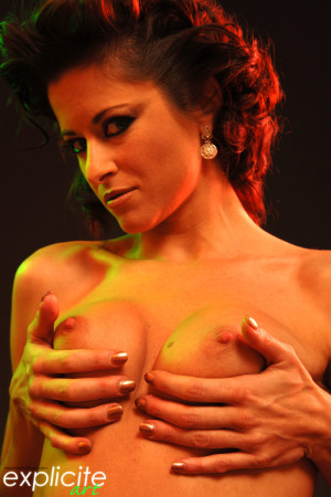 The french porn star Cecilia Vega stripping and showing pink in the dark…