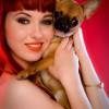 Glamour shoot with redhead pin up girl and her doggy!