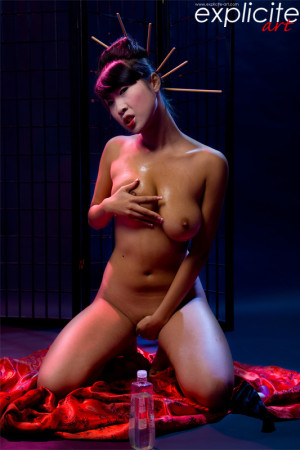 Sharon Lee stripping in studio as a sexy geisha, …artistic shoot…