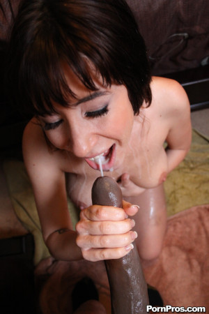 Sasha Sweet – Horny slut polishes a huge black cock with her mouth