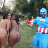 Capri & Stacy - Delicious black hoes with bubble butts sharing a big cock