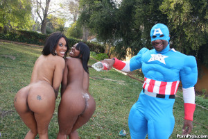 Capri & Stacy – Delicious black hoes with bubble butts sharing a big cock