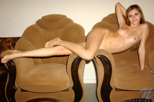Wonderful free photos of this top nubile babe shows off on antique chair