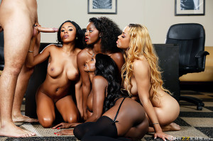 Diamond Jackson, Jasmine Webb, Jade Aspen, Anya Ivy Pictures in Office 4-Play VII: Ebony Babes