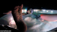 Ivy Snow has some night time fun in her bikini and then gets off with her hot tub jets