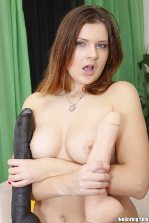 Dirty slut plays with two enormous dildos