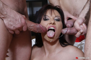Horny studs nailing a gorgeous babe in every hole she has with their stiff daggers