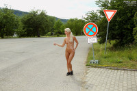 Pinky June Hitchhikes Completely Naked