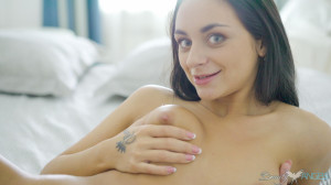 Sweet brunette angel breaks all stereotypes by using sex toy