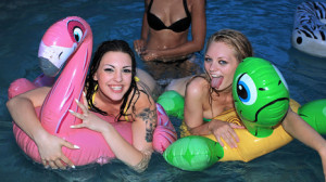 Alli Rae, Rachael Rae In Midnight Naked Pool Party Video and Hq Pics