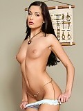 Feel aroused as classy brunette strips slowly and sensually