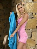 Sultry blonde sheds pink dress and dildos shaved snatch